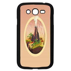 Digital Art Minimalism Nature Simple Background Palm Trees Volcano Eruption Lava Smoke Low Poly Circ Samsung Galaxy Grand Duos I9082 Case (black)