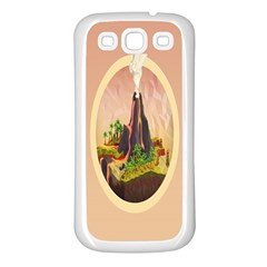 Digital Art Minimalism Nature Simple Background Palm Trees Volcano Eruption Lava Smoke Low Poly Circ Samsung Galaxy S3 Back Case (white)