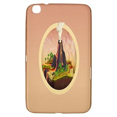 Digital Art Minimalism Nature Simple Background Palm Trees Volcano Eruption Lava Smoke Low Poly Circ Samsung Galaxy Tab 3 (8 ) T3100 Hardshell Case