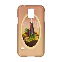 Digital Art Minimalism Nature Simple Background Palm Trees Volcano Eruption Lava Smoke Low Poly Circ Samsung Galaxy S5 Hardshell Case