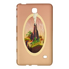Digital Art Minimalism Nature Simple Background Palm Trees Volcano Eruption Lava Smoke Low Poly Circ Samsung Galaxy Tab 4 (7 ) Hardshell Case