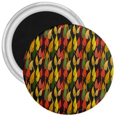 Colorful Leaves Yellow Red Green Grey Rainbow Leaf 3  Magnets by Alisyart