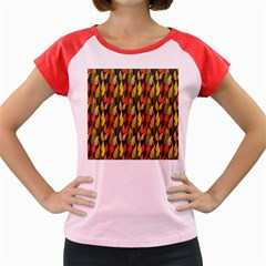 Colorful Leaves Yellow Red Green Grey Rainbow Leaf Women s Cap Sleeve T Shirt by Alisyart
