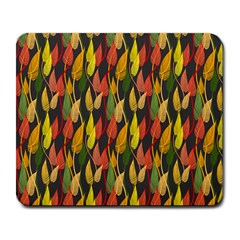 Colorful Leaves Yellow Red Green Grey Rainbow Leaf Large Mousepads
