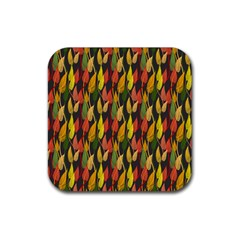 Colorful Leaves Yellow Red Green Grey Rainbow Leaf Rubber Square Coaster (4 Pack)  by Alisyart