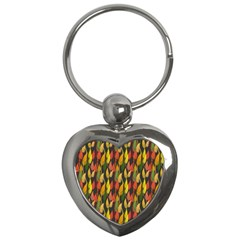 Colorful Leaves Yellow Red Green Grey Rainbow Leaf Key Chains (heart)  by Alisyart