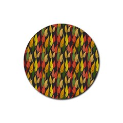 Colorful Leaves Yellow Red Green Grey Rainbow Leaf Rubber Round Coaster (4 Pack)  by Alisyart