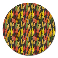 Colorful Leaves Yellow Red Green Grey Rainbow Leaf Magnet 5  (round)