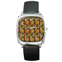 Colorful Leaves Yellow Red Green Grey Rainbow Leaf Square Metal Watch by Alisyart