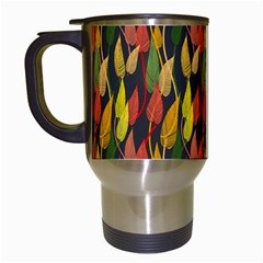 Colorful Leaves Yellow Red Green Grey Rainbow Leaf Travel Mugs (white) by Alisyart