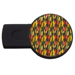 Colorful Leaves Yellow Red Green Grey Rainbow Leaf Usb Flash Drive Round (4 Gb) by Alisyart