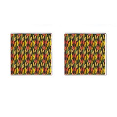 Colorful Leaves Yellow Red Green Grey Rainbow Leaf Cufflinks (square) by Alisyart