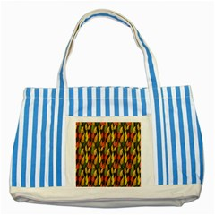 Colorful Leaves Yellow Red Green Grey Rainbow Leaf Striped Blue Tote Bag by Alisyart