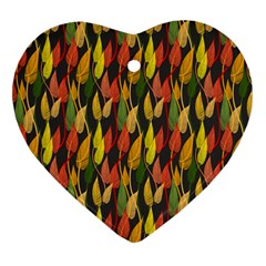 Colorful Leaves Yellow Red Green Grey Rainbow Leaf Heart Ornament (two Sides) by Alisyart