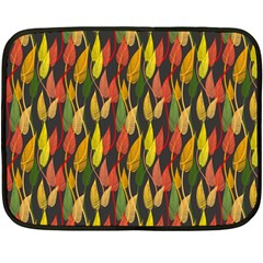 Colorful Leaves Yellow Red Green Grey Rainbow Leaf Fleece Blanket (mini)
