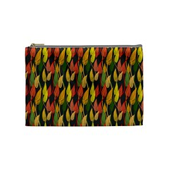 Colorful Leaves Yellow Red Green Grey Rainbow Leaf Cosmetic Bag (medium)