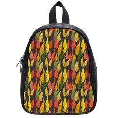 Colorful Leaves Yellow Red Green Grey Rainbow Leaf School Bags (small)  by Alisyart