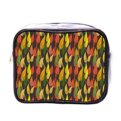 Colorful Leaves Yellow Red Green Grey Rainbow Leaf Mini Toiletries Bags by Alisyart