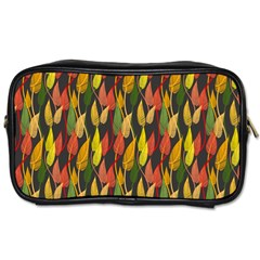 Colorful Leaves Yellow Red Green Grey Rainbow Leaf Toiletries Bags 2 Side by Alisyart