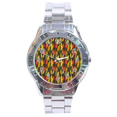 Colorful Leaves Yellow Red Green Grey Rainbow Leaf Stainless Steel Analogue Watch