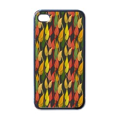 Colorful Leaves Yellow Red Green Grey Rainbow Leaf Apple Iphone 4 Case (black) by Alisyart
