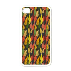 Colorful Leaves Yellow Red Green Grey Rainbow Leaf Apple Iphone 4 Case (white) by Alisyart