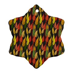 Colorful Leaves Yellow Red Green Grey Rainbow Leaf Ornament (snowflake) by Alisyart