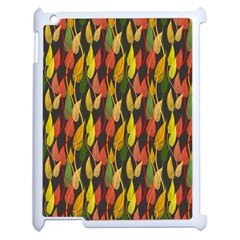 Colorful Leaves Yellow Red Green Grey Rainbow Leaf Apple Ipad 2 Case (white) by Alisyart