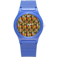 Colorful Leaves Yellow Red Green Grey Rainbow Leaf Round Plastic Sport Watch (s)