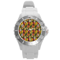 Colorful Leaves Yellow Red Green Grey Rainbow Leaf Round Plastic Sport Watch (l)
