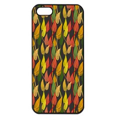 Colorful Leaves Yellow Red Green Grey Rainbow Leaf Apple Iphone 5 Seamless Case (black)