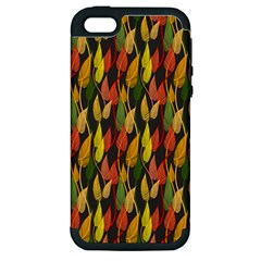 Colorful Leaves Yellow Red Green Grey Rainbow Leaf Apple Iphone 5 Hardshell Case (pc+silicone) by Alisyart