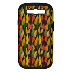 Colorful Leaves Yellow Red Green Grey Rainbow Leaf Samsung Galaxy S Iii Hardshell Case (pc+silicone)