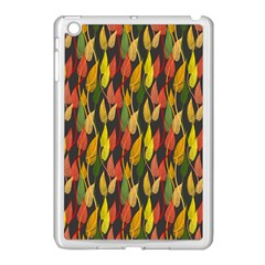 Colorful Leaves Yellow Red Green Grey Rainbow Leaf Apple Ipad Mini Case (white) by Alisyart