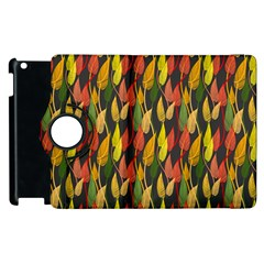 Colorful Leaves Yellow Red Green Grey Rainbow Leaf Apple Ipad 2 Flip 360 Case by Alisyart