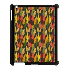 Colorful Leaves Yellow Red Green Grey Rainbow Leaf Apple Ipad 3/4 Case (black) by Alisyart