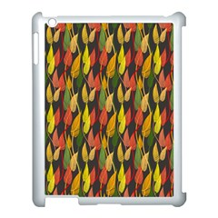 Colorful Leaves Yellow Red Green Grey Rainbow Leaf Apple Ipad 3/4 Case (white) by Alisyart