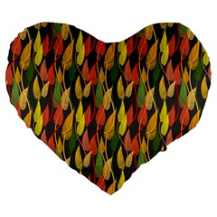 Colorful Leaves Yellow Red Green Grey Rainbow Leaf Large 19  Premium Heart Shape Cushions
