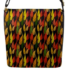 Colorful Leaves Yellow Red Green Grey Rainbow Leaf Flap Messenger Bag (s) by Alisyart