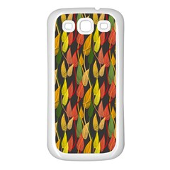 Colorful Leaves Yellow Red Green Grey Rainbow Leaf Samsung Galaxy S3 Back Case (white) by Alisyart