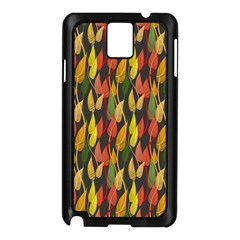 Colorful Leaves Yellow Red Green Grey Rainbow Leaf Samsung Galaxy Note 3 N9005 Case (black) by Alisyart