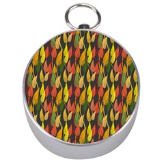 Colorful Leaves Yellow Red Green Grey Rainbow Leaf Silver Compasses by Alisyart