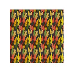 Colorful Leaves Yellow Red Green Grey Rainbow Leaf Small Satin Scarf (square) by Alisyart