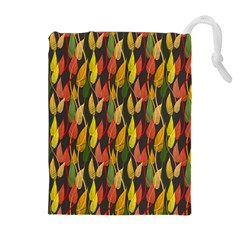 Colorful Leaves Yellow Red Green Grey Rainbow Leaf Drawstring Pouches (extra Large)
