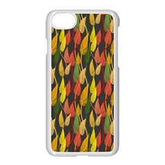 Colorful Leaves Yellow Red Green Grey Rainbow Leaf Apple Iphone 7 Seamless Case (white) by Alisyart