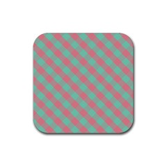 Cross Pink Green Gingham Digital Paper Rubber Square Coaster (4 Pack)