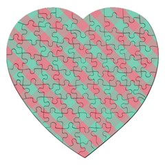 Cross Pink Green Gingham Digital Paper Jigsaw Puzzle (heart) by Alisyart