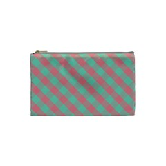 Cross Pink Green Gingham Digital Paper Cosmetic Bag (small)  by Alisyart