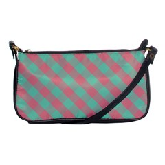 Cross Pink Green Gingham Digital Paper Shoulder Clutch Bags