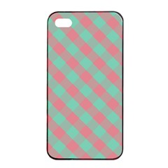 Cross Pink Green Gingham Digital Paper Apple Iphone 4/4s Seamless Case (black) by Alisyart